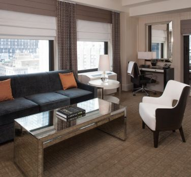 A Balcony Suite Living Room at The Benjamin Hotel in NYC