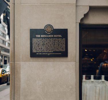 The Benjamin Hotel Designated Landmark Plaque