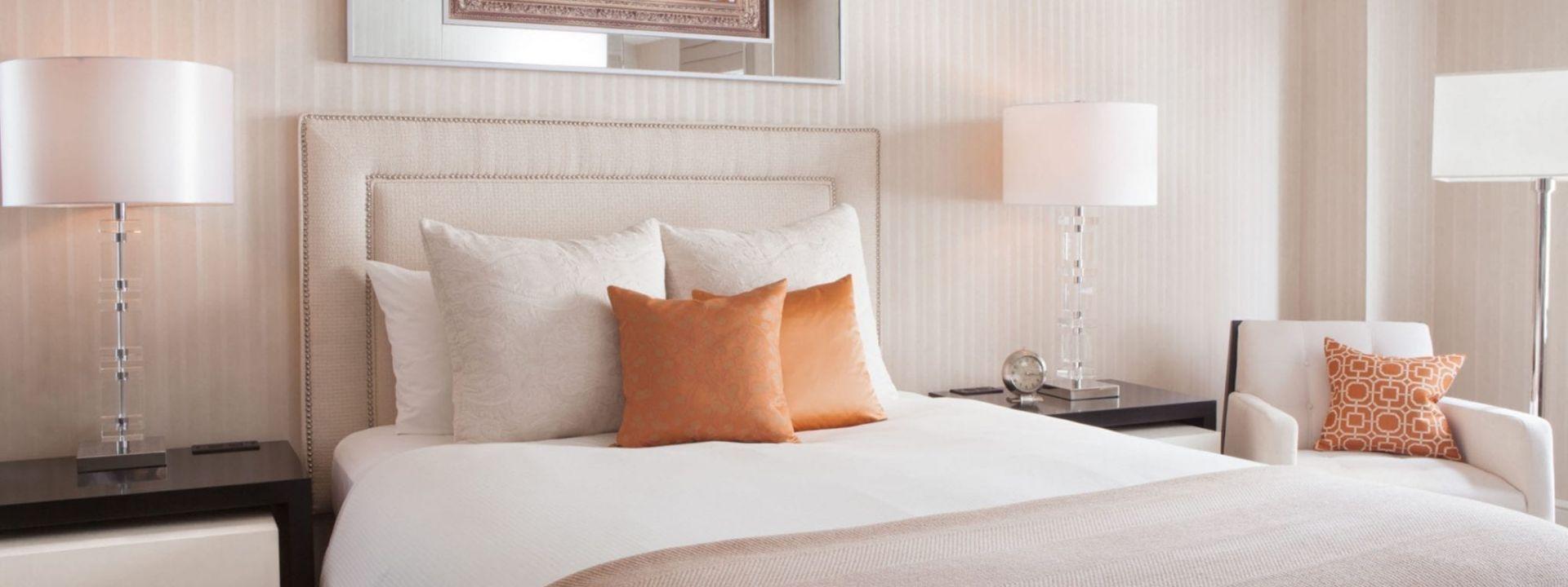 A Guestroom Bed at The Benjamin NYC