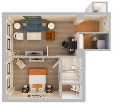 One Bedroom King Suite Floorplan | The Benjamin Hotel NYC