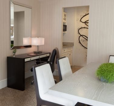 The dining area of a terrace suite in The Benjamin Hotel NYC