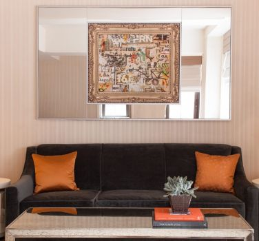 A sofa in a terrace suite at The Benjamin Hotel