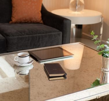 A tea on a table inside one of The Benjamin's guest rooms