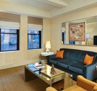 A guest room at The Benjamin Hotel in NYC