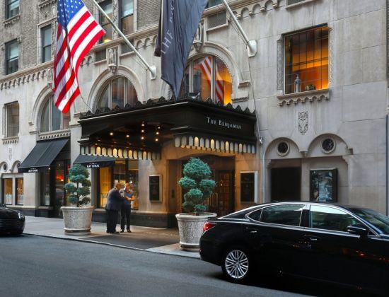 The front door of The Benjamin Hotel in New York