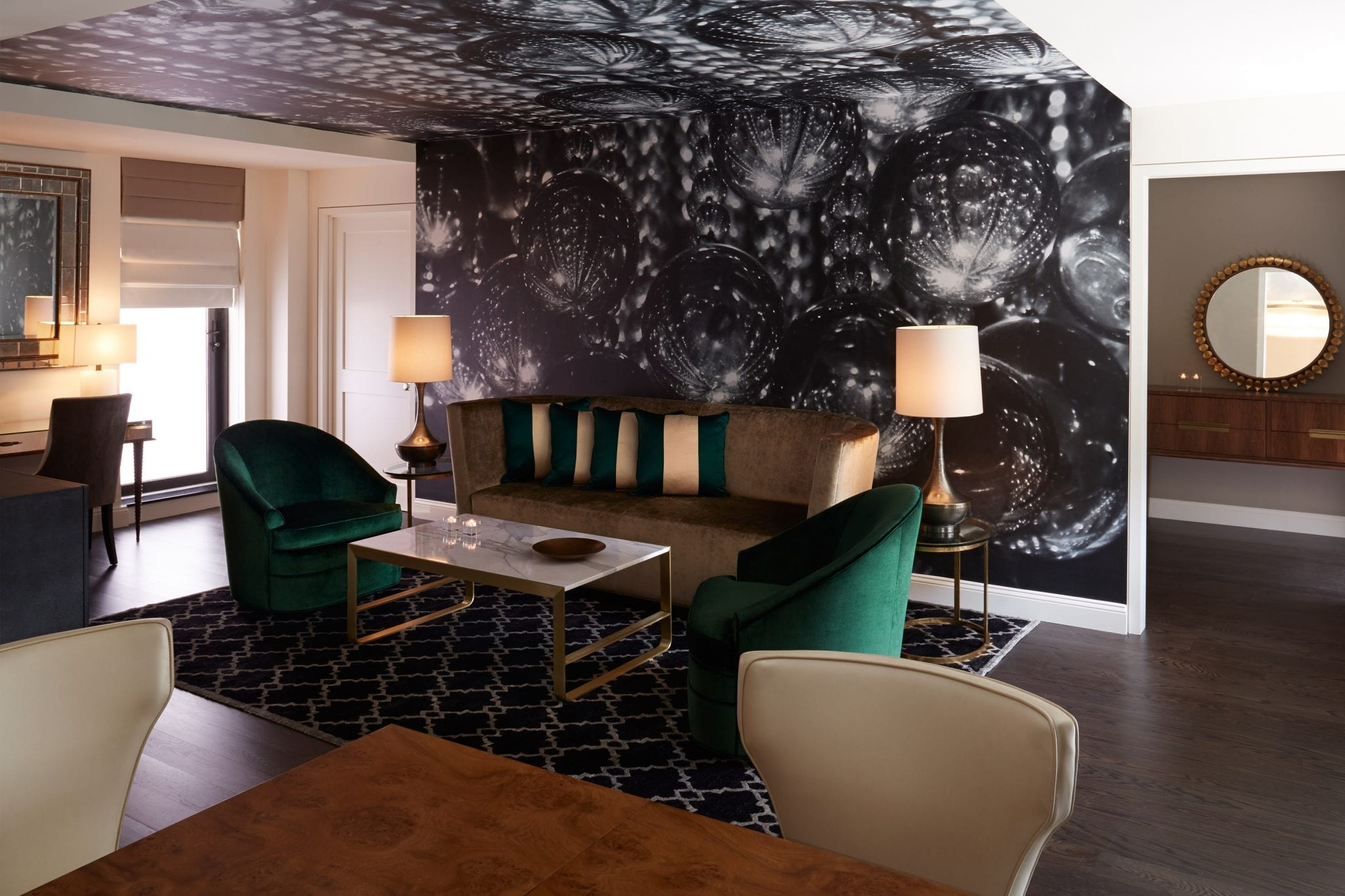 A suite living room at The Benjamin Hotel in New York
