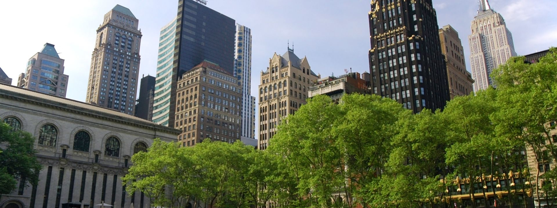 Midtown Manhattan highrise buildings and skyscrapers as seen from Bryant Park