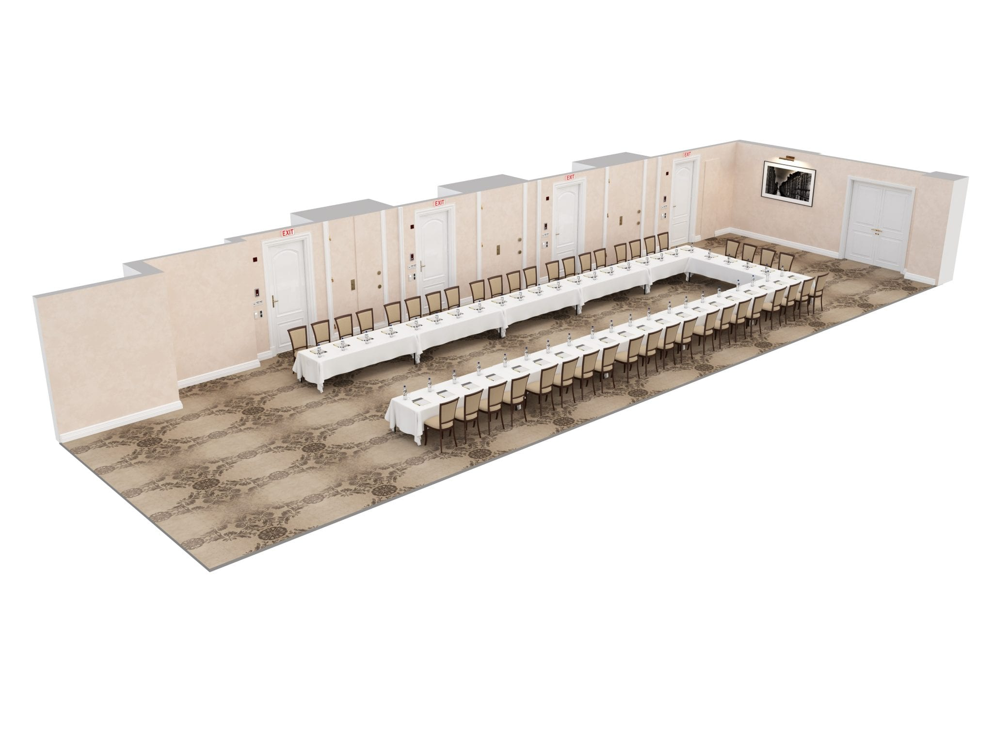 The Lexington Room U-shaped banquet table