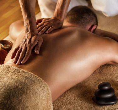 A man getting a deep tissue massage