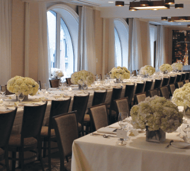A wedding reception hall at The Benjamin Hotel in NYC