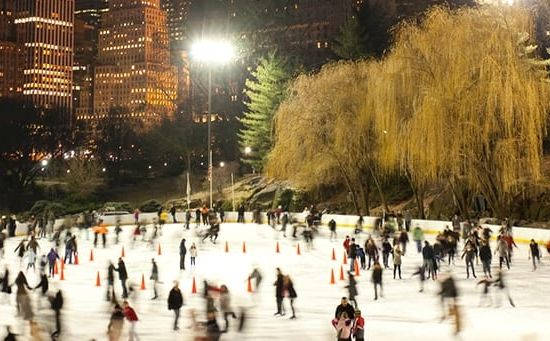 Ice skating at Wollman Rink in Central Park NYC